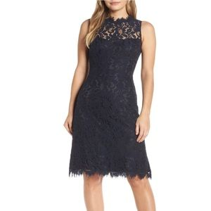 Eliza J High Neck Lace Sheath Dress In Navy 18